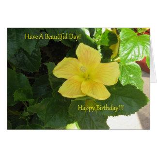 Bernstein-gelbe Hibiskus-Geburtstags-Karte Karte