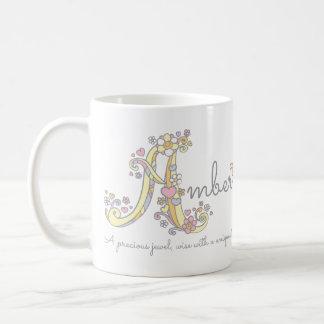 Bernsteinfarbige bedeutungs-Monogramm-Tasse des Kaffeetasse