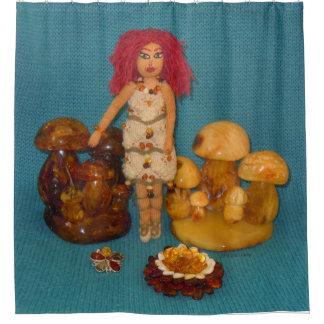 Bernsteinfarbige Feen-Puppe Duschvorhang