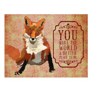 Bernsteinfarbige Fox-Valentinstag-Postkarte