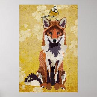 Bernsteinfarbiger Fox u. kleines Plakatdruck