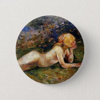 Berthe Morisot - das stützende Sherperdess Runder Button 5,7 Cm