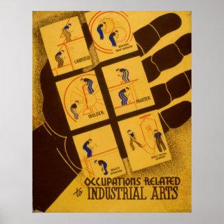 Berufe bezogen auf industriellen Künsten Vintages Poster