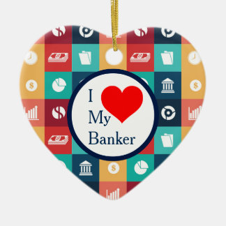 Beruflicher Banker-Iconic Piktogramm Keramik Ornament
