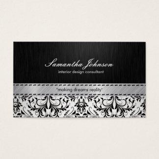 Beruflicher eleganter Schwarzweiss-Damast Visitenkarten