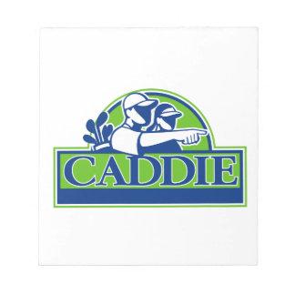 Beruflicher Golfspieler und Caddie Retro Notizblock