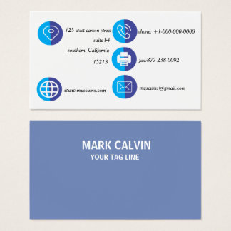 Berufliches elegantes blaues einfaches Metall Visitenkarte