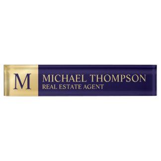Berufliches elegantes Marine-Blau und Gold Namensplakette