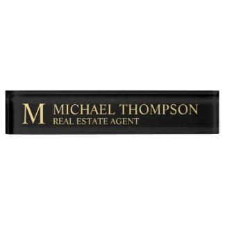 Berufliches elegantes Schwarzes und Gold Schreibtischplakette