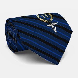Berufliches gerahmtes Monogramm-Veterinärblau Bedruckte Krawatte