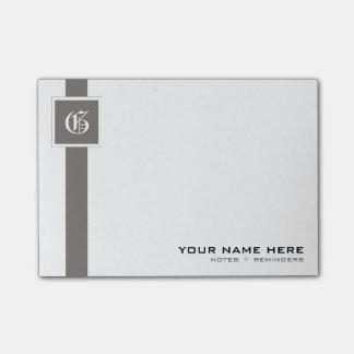 Berufliches graues u. weißes Streifen-Monogramm Post-it Klebezettel