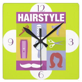 Berufliches Haar-Stylist Iconic entworfen Quadratische Wanduhr