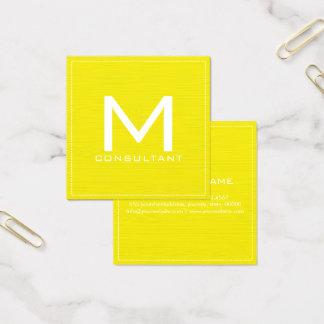 Berufliches Monogramm-elegantes modernes Gelb Quadratische Visitenkarte