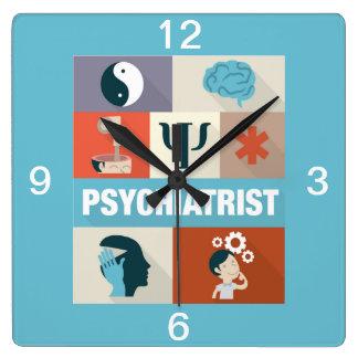 Berufliches Psychiater Iconic entworfen Quadratische Wanduhr