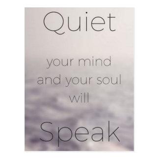 Beruhigen Sie Ihren Verstand und Ihr Soul spricht Postkarte