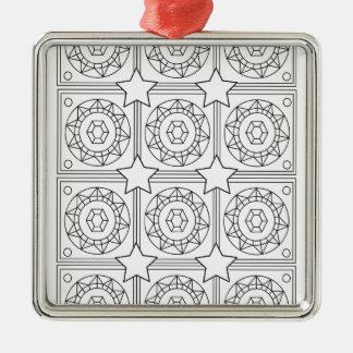 Beruhigen Sie unten nr 6 Quadratisches Silberfarbenes Ornament