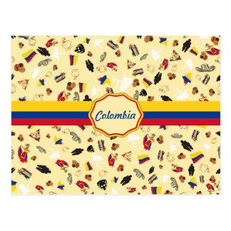 Berühmte Einzelteile von Kolumbien mit Flagge Postkarte