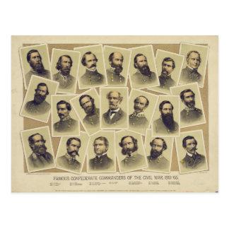 Berühmte verbündete Kommandanten des zivilen Krieg Postkarten