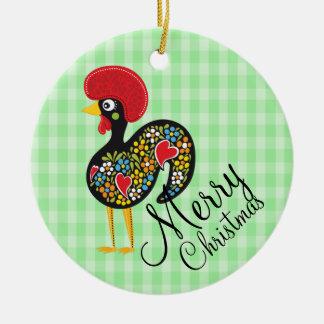 Berühmter Hahn Barcelos Nr 07 froher Weihnachten Rundes Keramik Ornament
