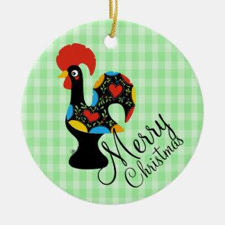 Berühmter Hahn Barcelos Nr 09 froher Weihnachten Rundes Keramik Ornament