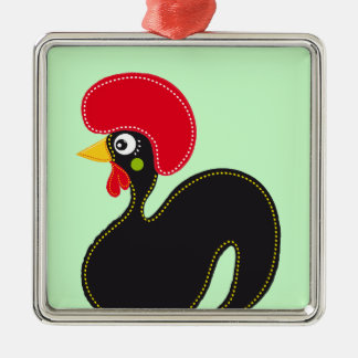 Berühmter Hahn von Barcelos 01 Silbernes Ornament