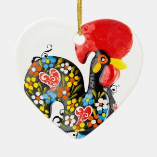 Berühmter Hahn von Barcelos Nr 06 - Blumenausgabe Keramik Ornament