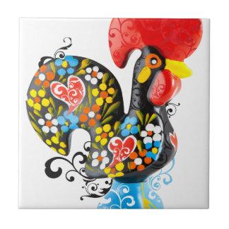 Berühmter Hahn von Barcelos Nr 06 - Blumenausgabe Kleine Quadratische Fliese