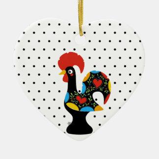 Berühmter Hahn von Barcelos Nr 09 - Tupfen Keramik Herz-Ornament