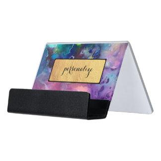 Beschaffenheits-Musterfarbe der Tinte bunte lila Schreibtisch-Visitenkartenhalter