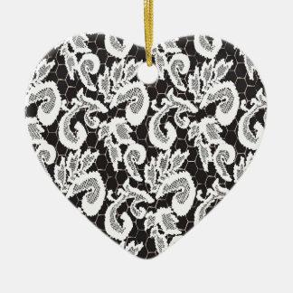 Beschaffenheitsspitze, Guipurespitze _2_2_2 Keramik Herz-Ornament