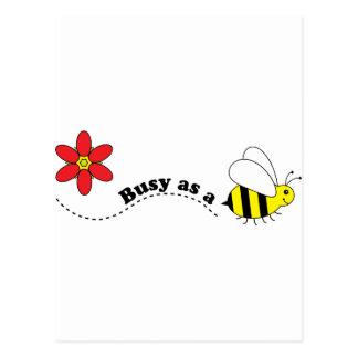 Beschäftigt als eine Bienen-glücklicher Bienen-und Postkarte