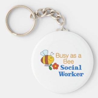 Beschäftigte Bienen-Sozialarbeiter Standard Runder Schlüsselanhänger