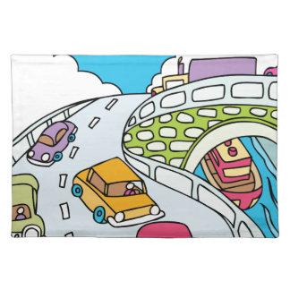 Beschäftigter Reise-TagesCartoon Stofftischset