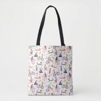 Beschäftigtes Mädchen-Aquarell-Muster Tasche