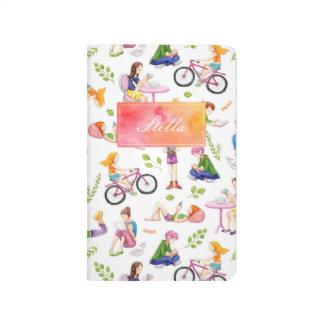 Beschäftigtes Mädchen-Aquarell-Muster Taschennotizbuch