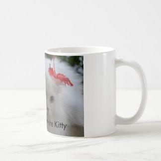 Beschatten Sie die weiße Miezekatze Kaffeetasse
