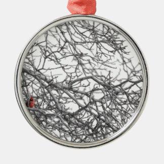 Beschmutzen Sie den Kardinal Silbernes Ornament