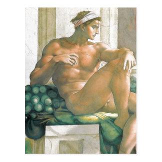 Beschreibungsfresko gemalt von Michelangelo und Postkarte