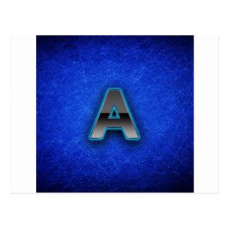 Beschriften Sie A - blaue Neonausgabe Postkarte