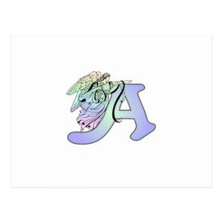 Beschriften Sie a-Engelsmonogramm-Alphabetinitiale Postkarte