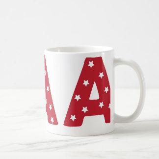 Beschriften Sie A - Weiß-Sterne auf dunkelrotem Kaffeetasse