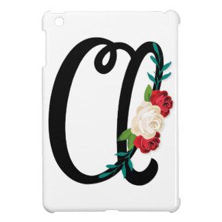 Beschriften Sie B mit Vintagem Blumenentwurf und iPad Mini Hülle