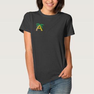 Beschriften Sie ein Palme-Monogramm gesticktes Besticktes T-Shirt