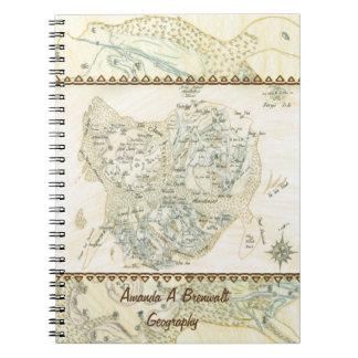 Beschriftete Karte von Trino Spiral Notizblock