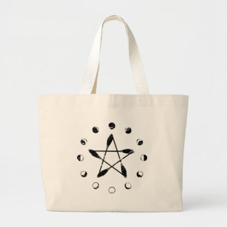 Besen-Pentagramm-Mond-Phase - Schwarzes Jumbo Stoffbeutel