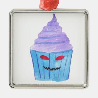 Besessener kleiner Kuchen Quadratisches Silberfarbenes Ornament