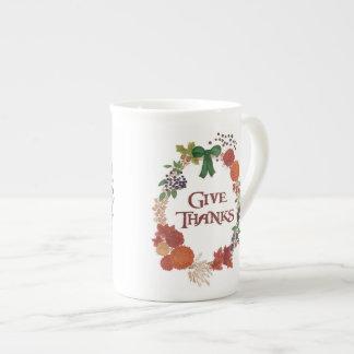 Besonders anzufertigen Erntedank-HerbstWreath Porzellantasse