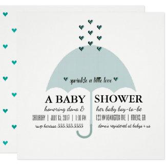 Besprühen Sie Liebe-Baby-Blau-Duschen-Einladung Karte