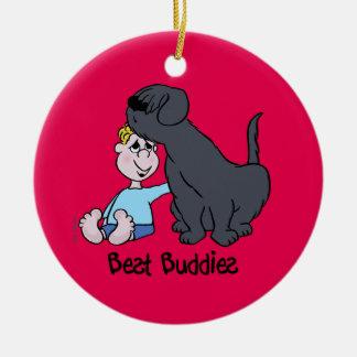 Best Buddies Rundes Keramik Ornament