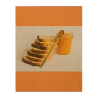 Bestandteile des gesunden Frühstücks auf hölzerner Holzwanddeko
